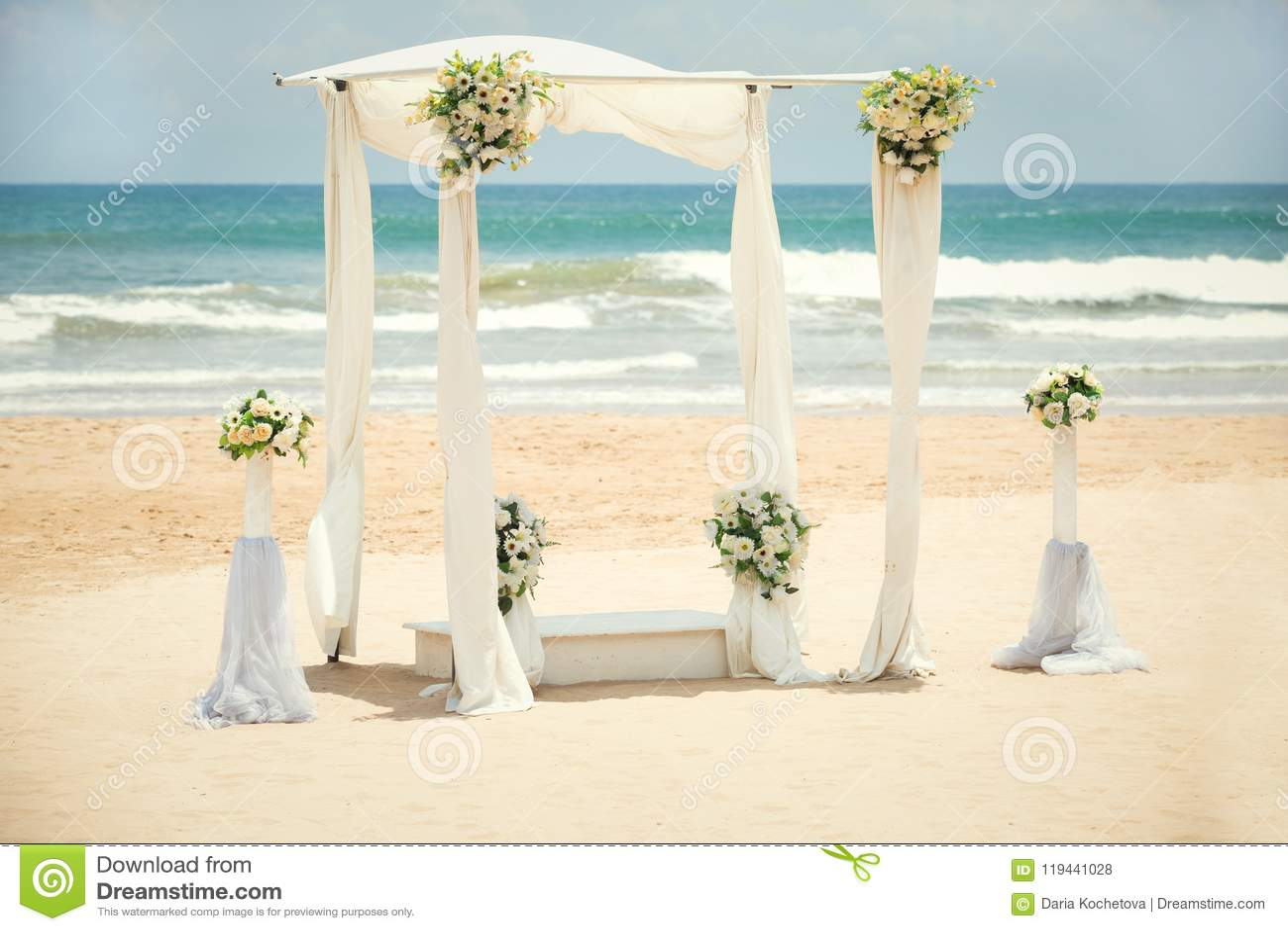 Decorazioni di nozze sulla spiaggia