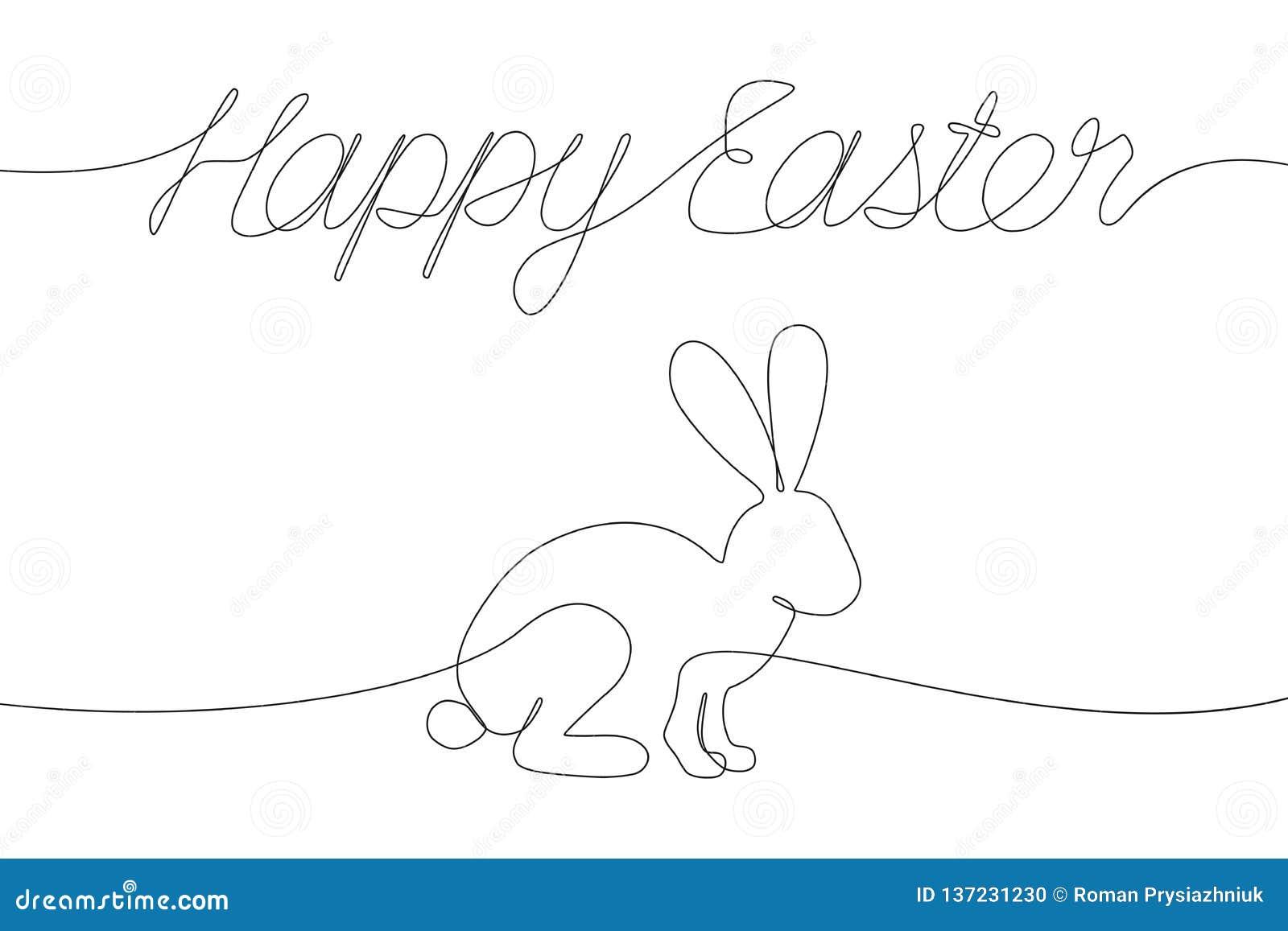 Decorazioni felici di Pasqua con una linea iscrizione e coniglio Continuo  iscrizione e coniglietto del disegno
