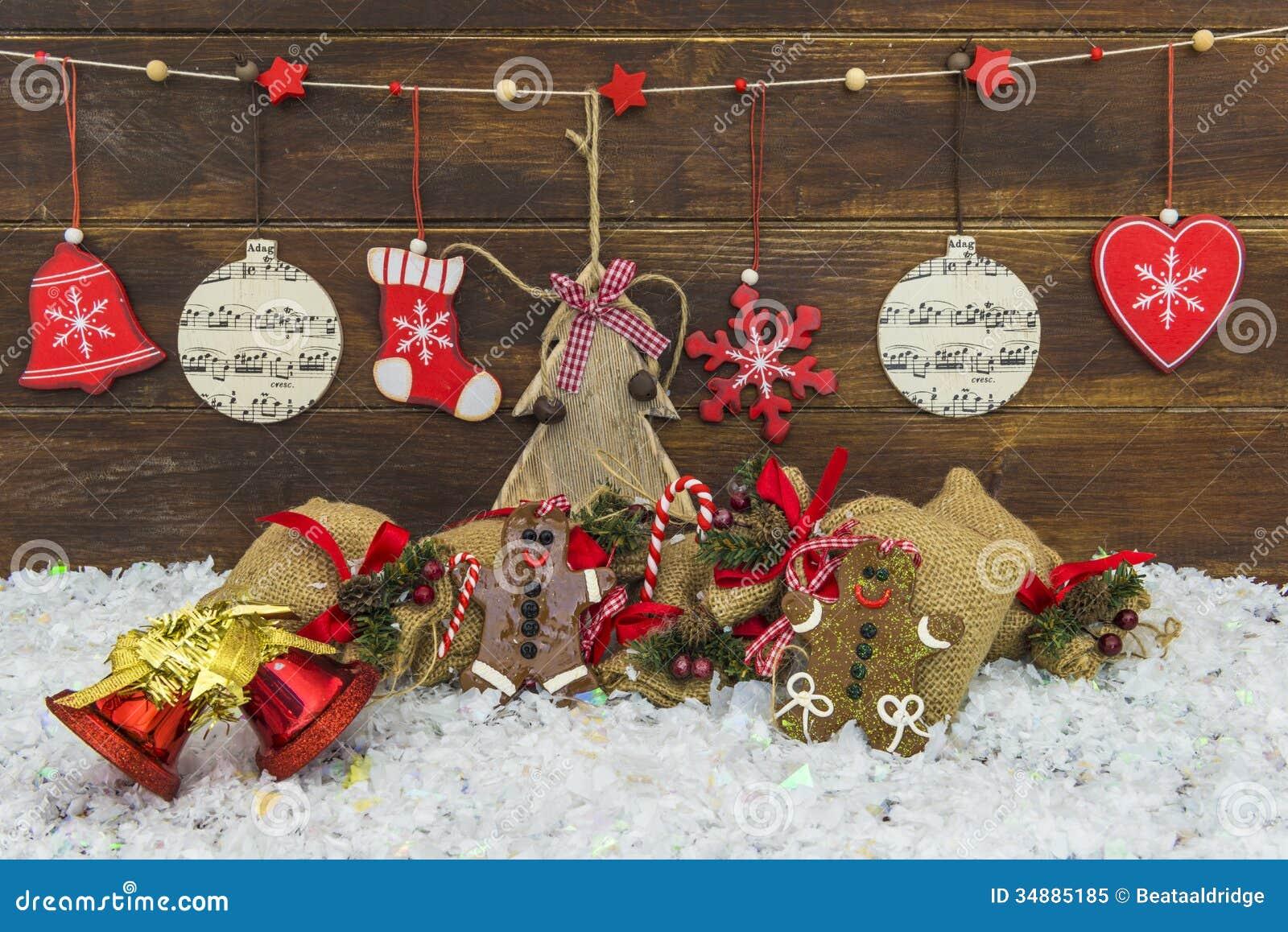 Decorazioni Rustiche Eleganti Misere Di Natale Fotografia Stock ...