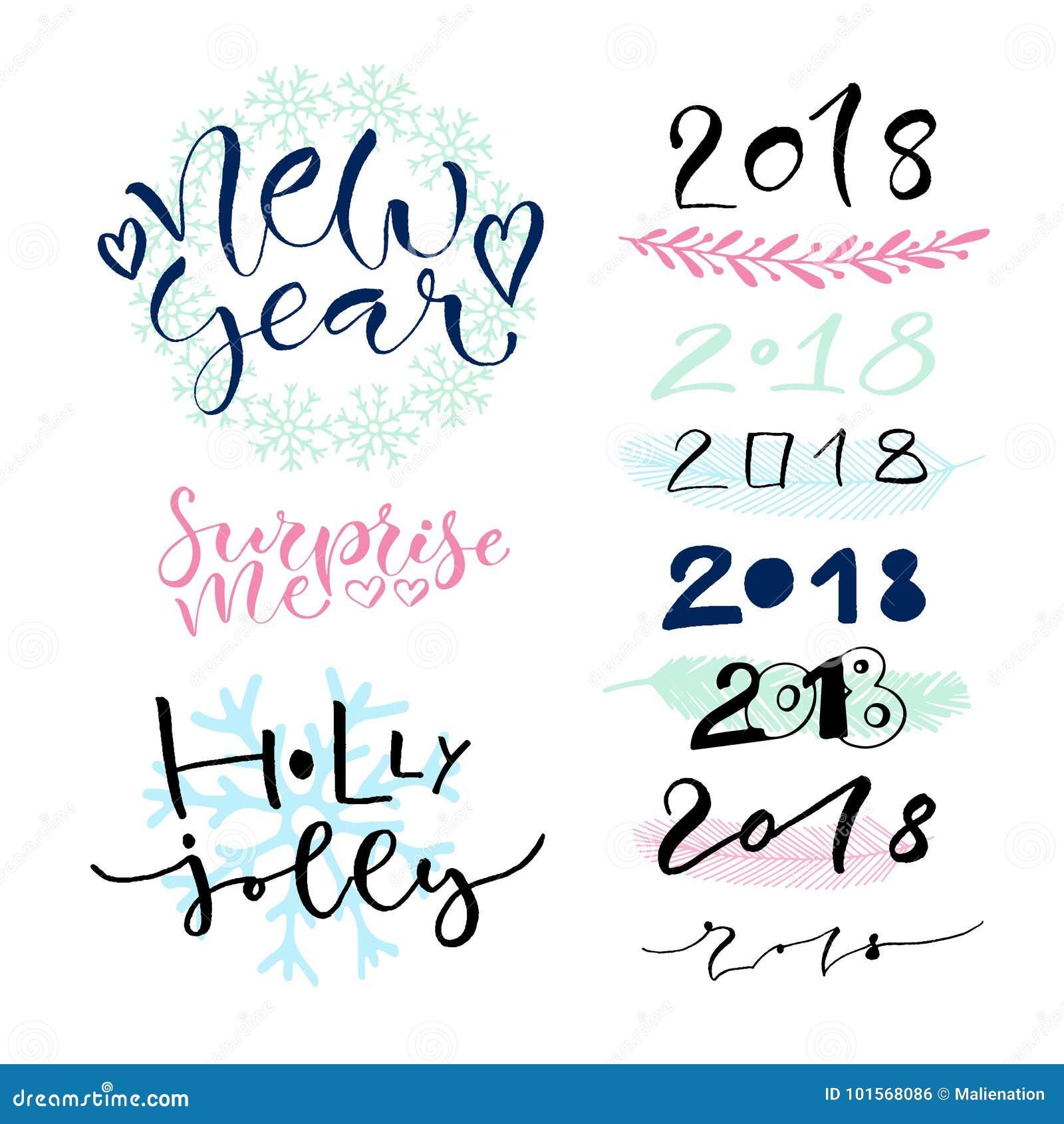 Decorazioni scritte a mano della cartolina d auguri del nuovo anno calligraphic