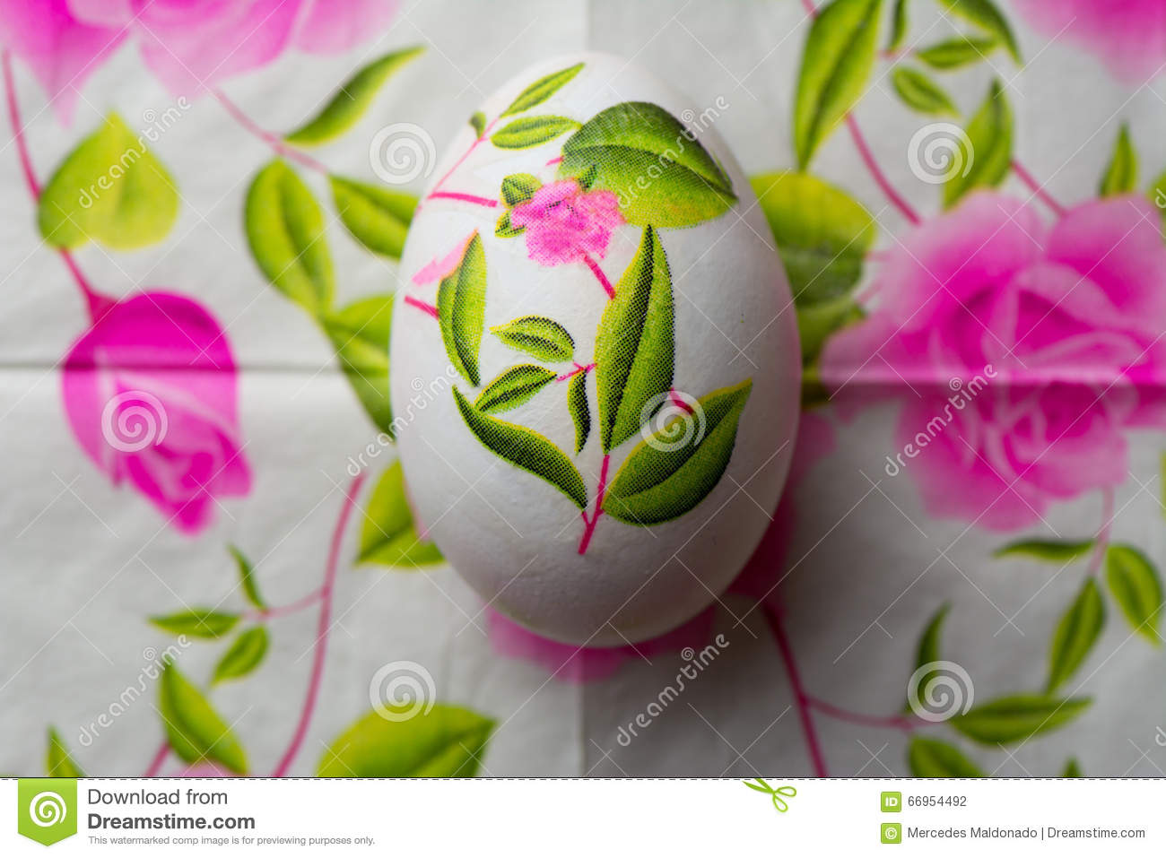 Decoupage Easter Egg Decorated With Flowered Paper Napkins Abov