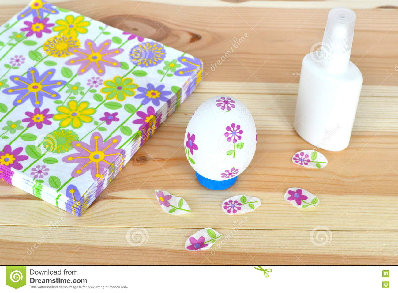 Decoupage Easter Egg, Glue, Napkins With A Floral Pattern On