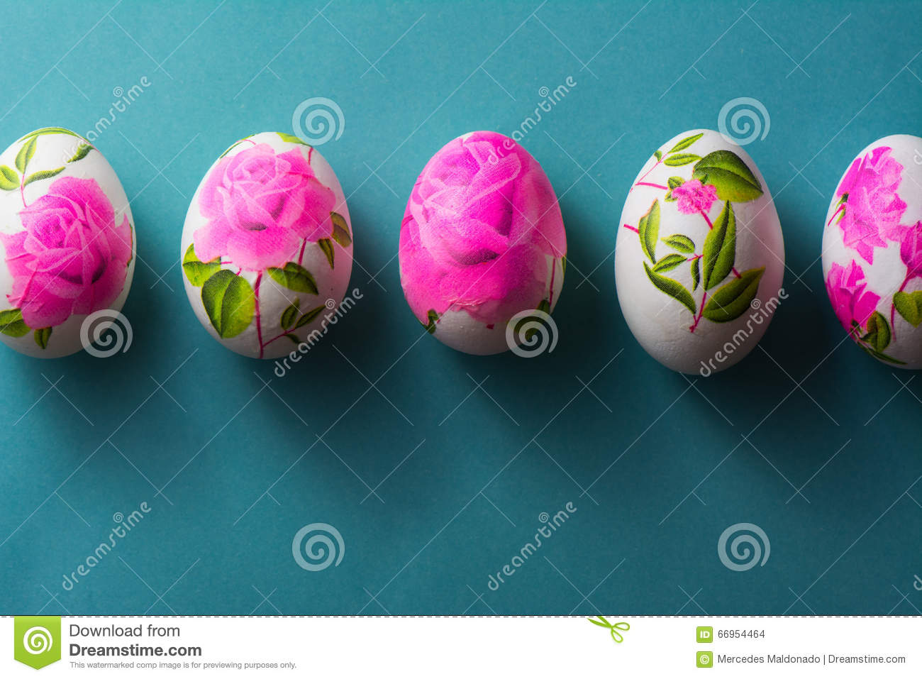 Decoupage Easter Eggs With Flowered Paper Napkins Above View Stock