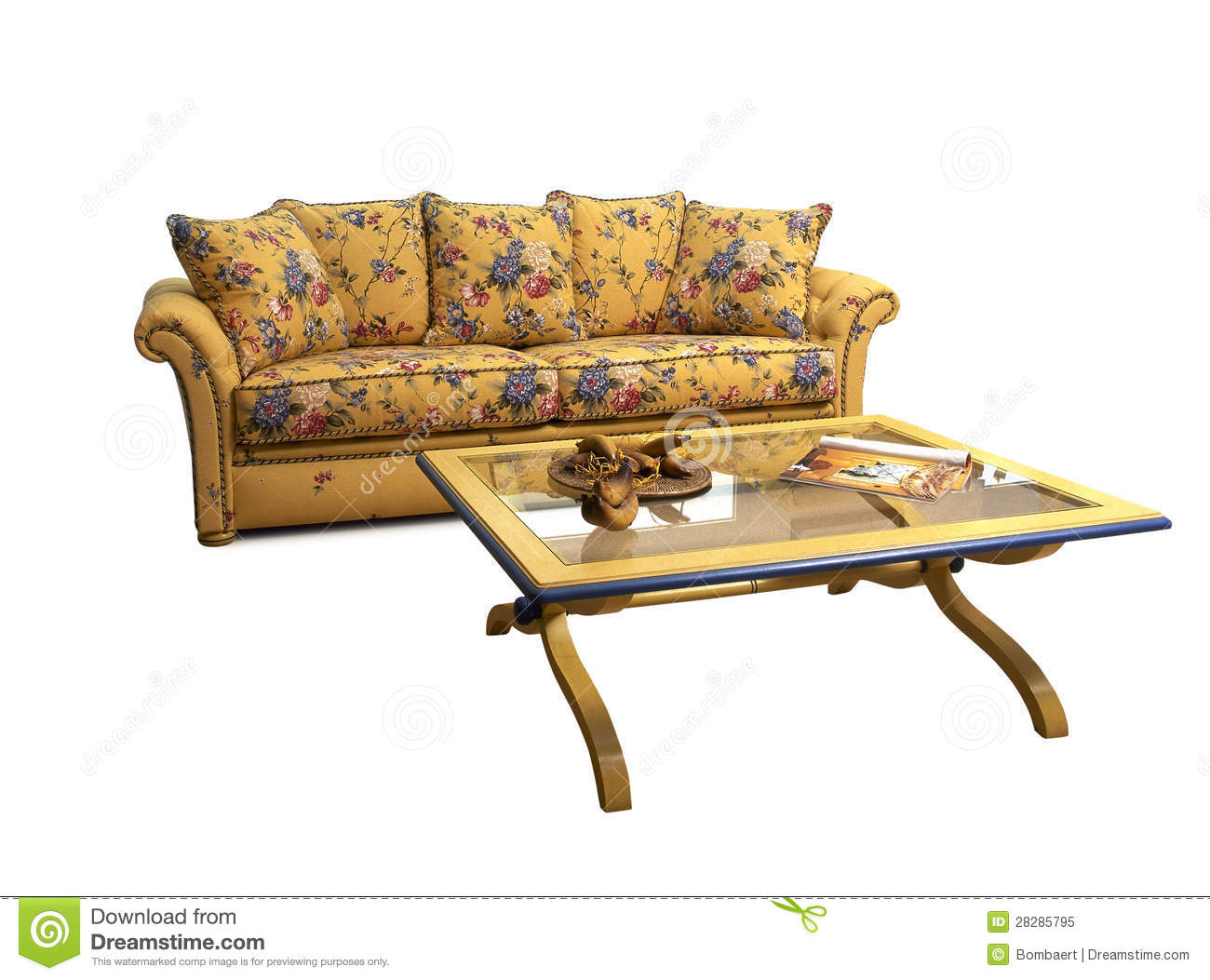 Decrated Sofa With Coffee Table Royalty Free Stock Photo