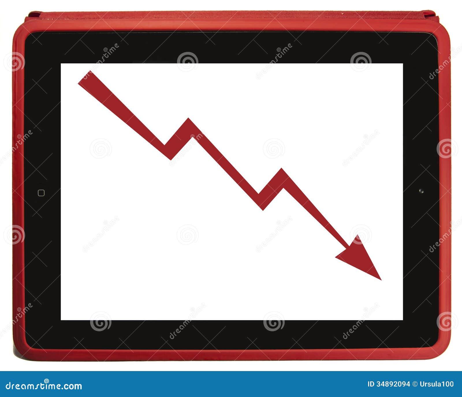 Decrease arrow in red tablet PCDecrease Arrow