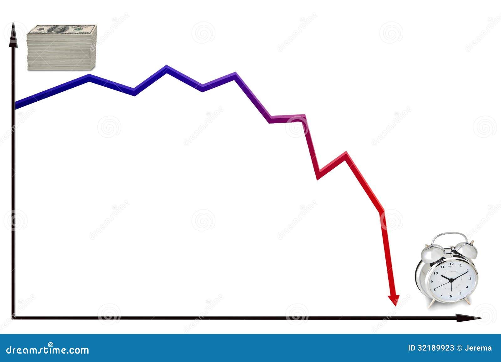 decreasing money over time stock illustration. illustration of