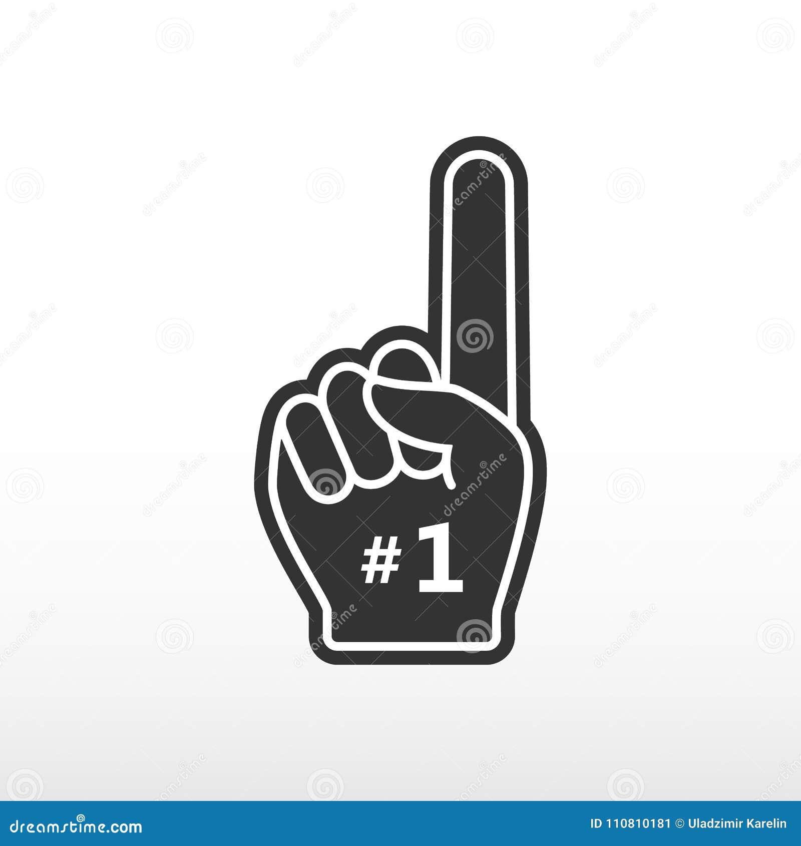 Dedo da espuma Numere 1, luva preta com o plano aumentado dedo, mão do fã