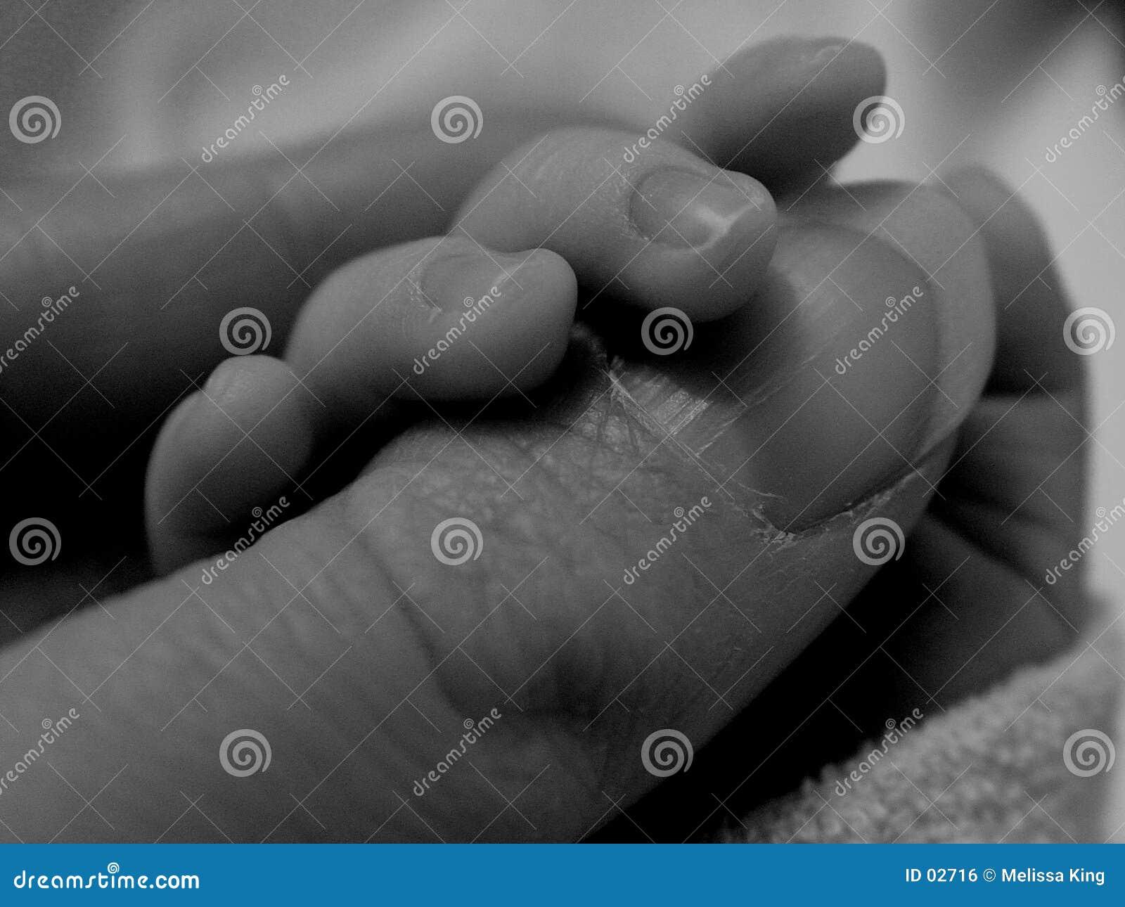 Dedo da terra arrendada do bebê