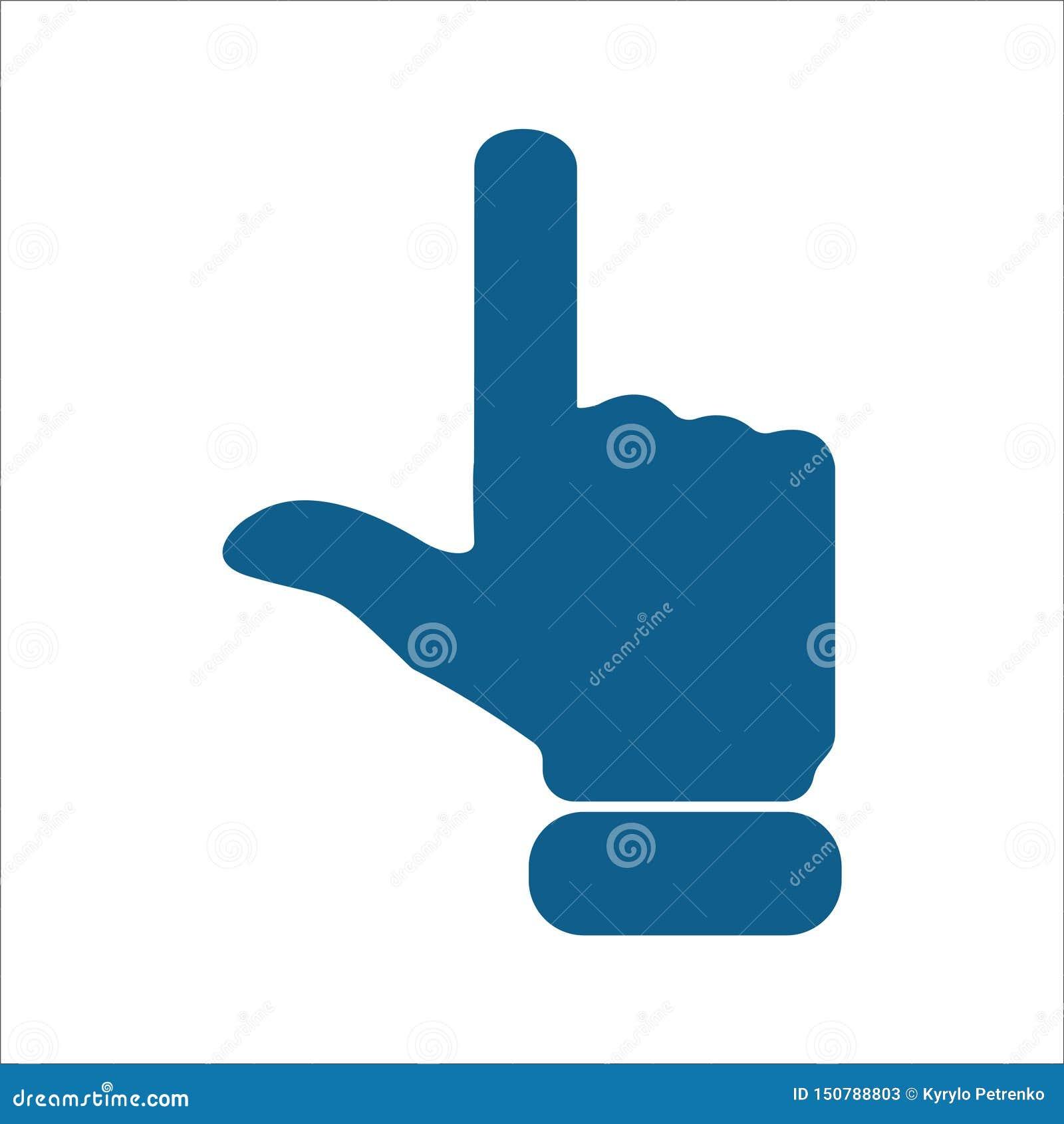 Dedo que aponta acima do fundo branco isolado do ícone
