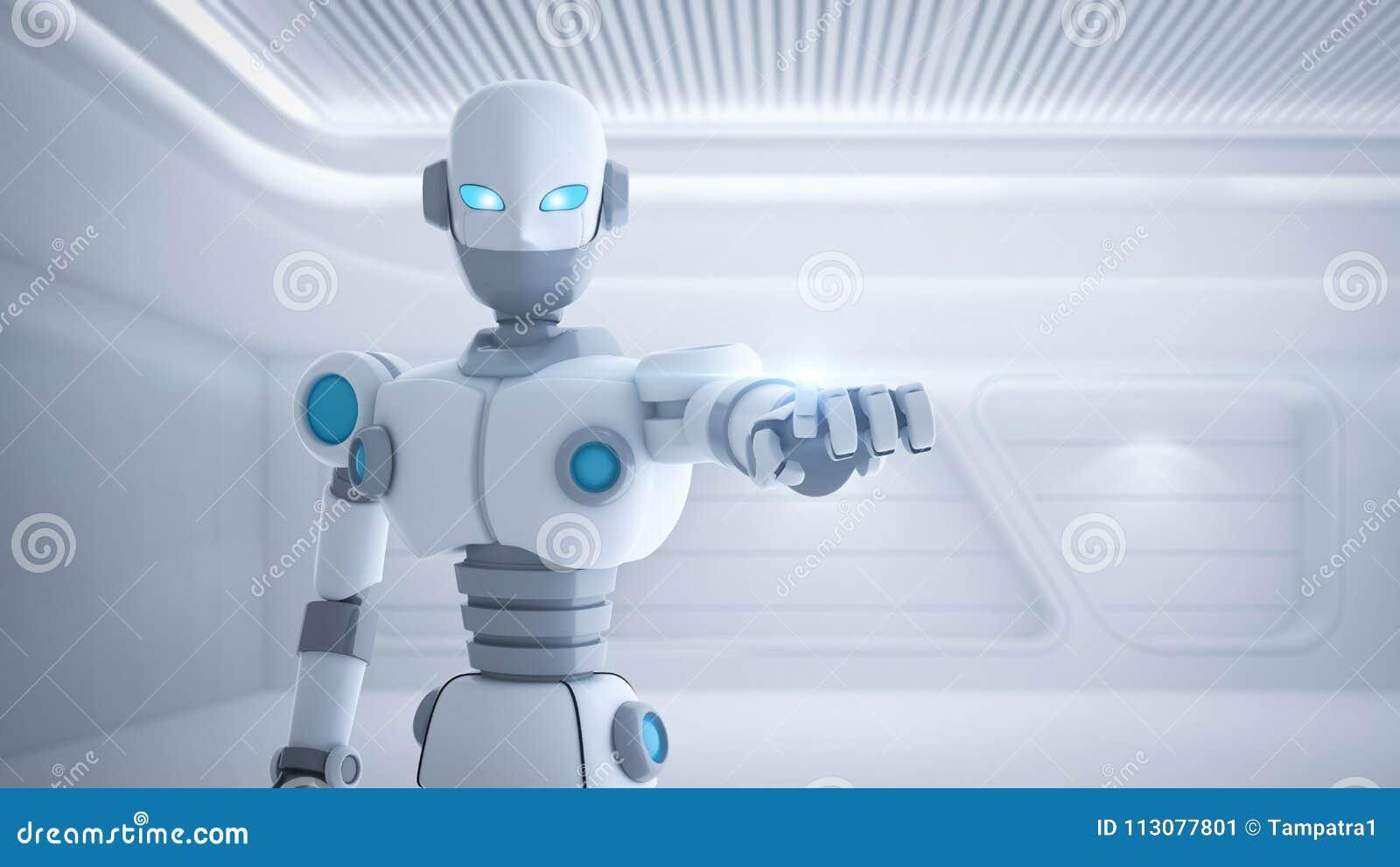 Dedo que aponta, inteligência artificial do robô em futurista