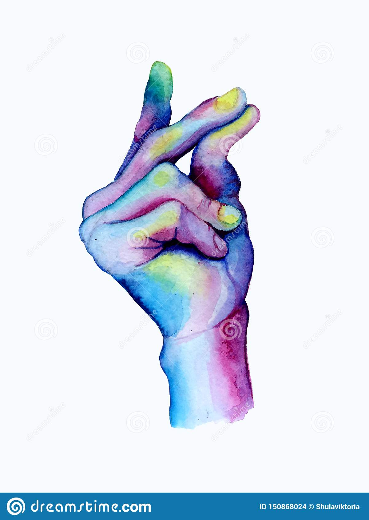 Dedos instantâneos tirados mão