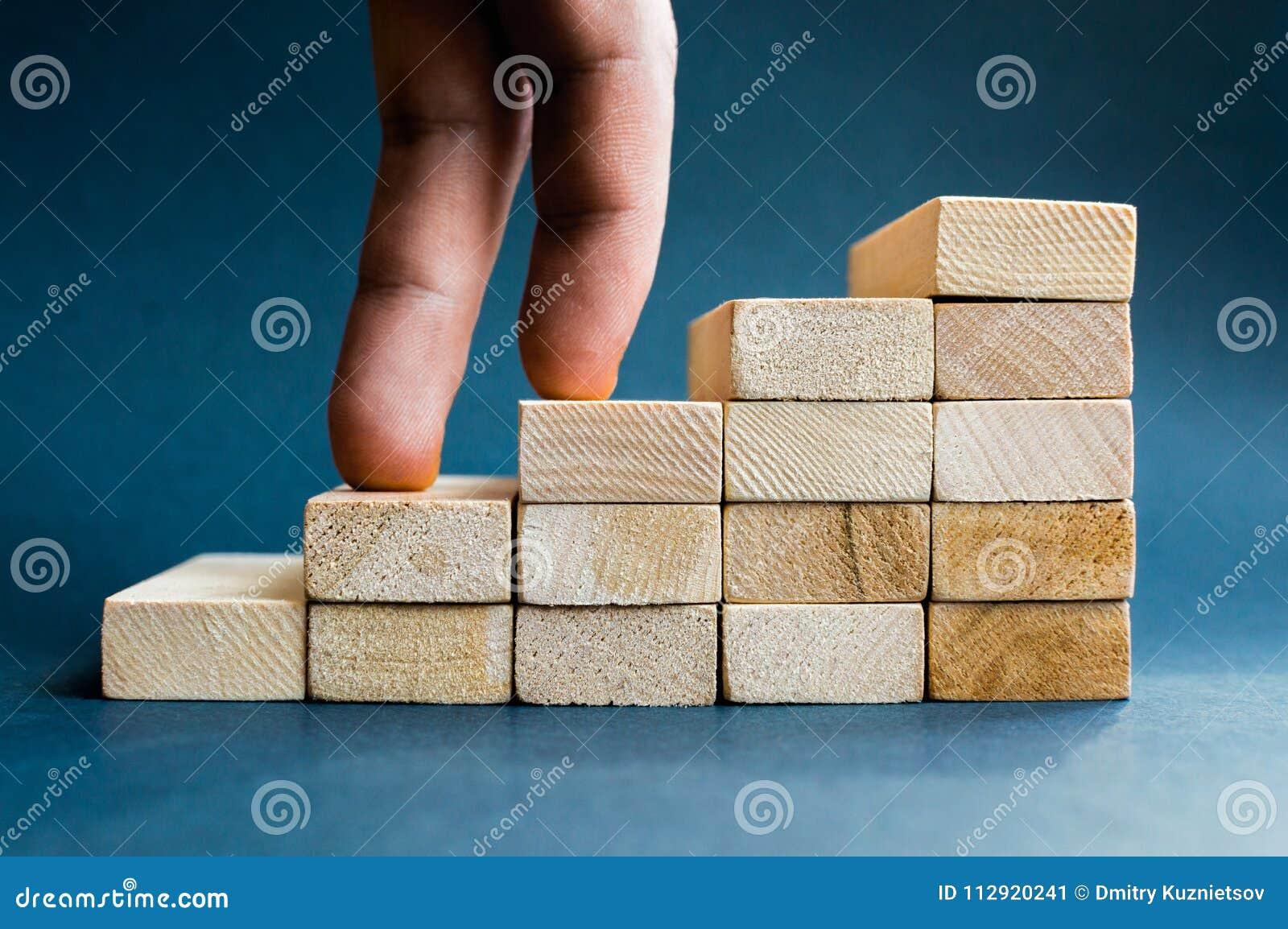Dedos que escalam as escadas feitas com blocos de madeira Conceito do sucesso, carreira, realização do objetivo, trabalhadora