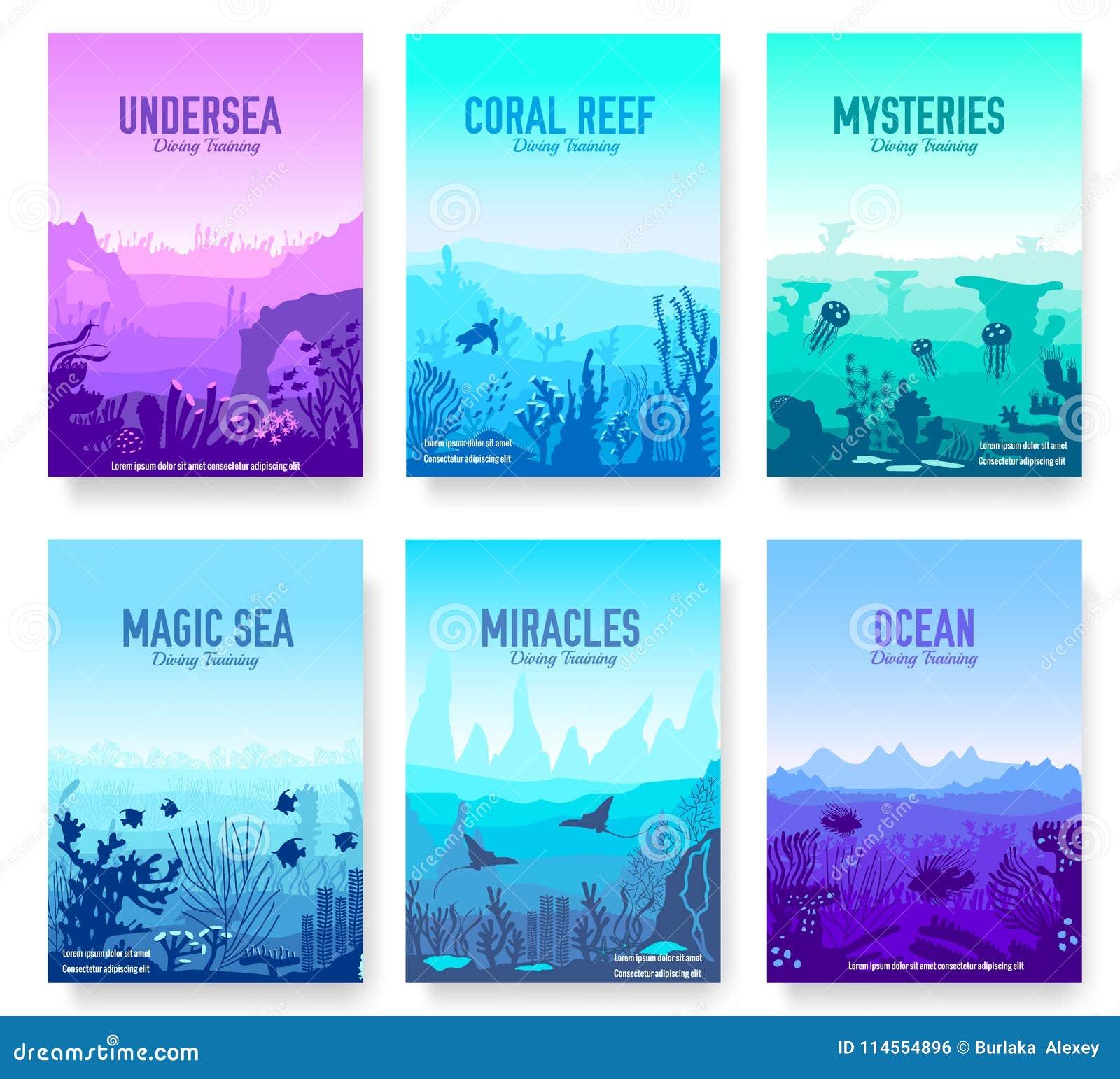 Dedykujący Podmorskie Wektorowe Broszurek Karty Ustawiać
