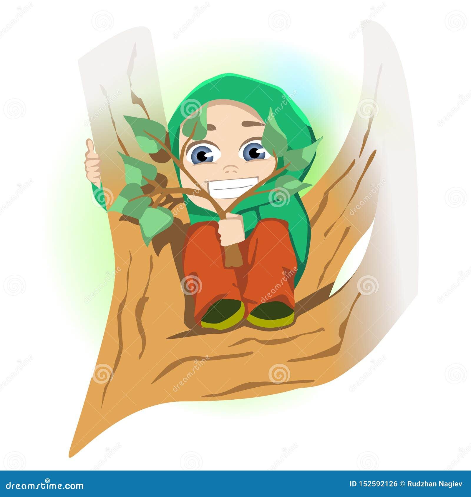 Deed schrikken weinig jongenszitting op boomtak