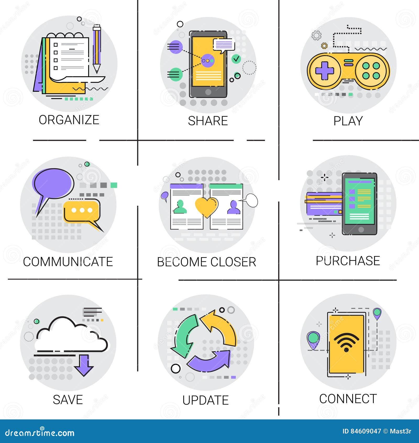 Deel Sociale Netwerk Communicatie Verbindingsgegevensbestand Online het Winkelen Applicatios Pictogramreeks mee