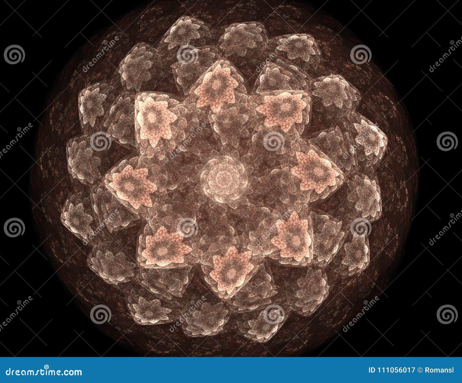 Deeltjes abstracte fractal vormen voor wat betreft kernfysicawetenschap en grafisch ontwerp Meetkunde heilige futuristische quant