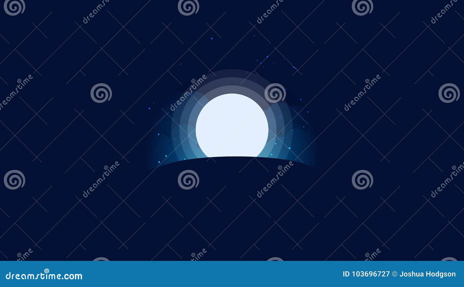 full moon star sky background wallpaper stock vector - illustration