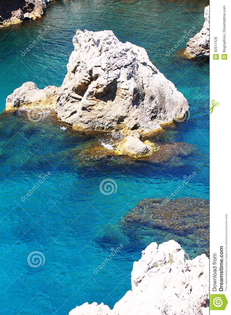 Download Deep Blue Clear Water Between Rocks Stock Photo - Image of clean, landscape: 92517428