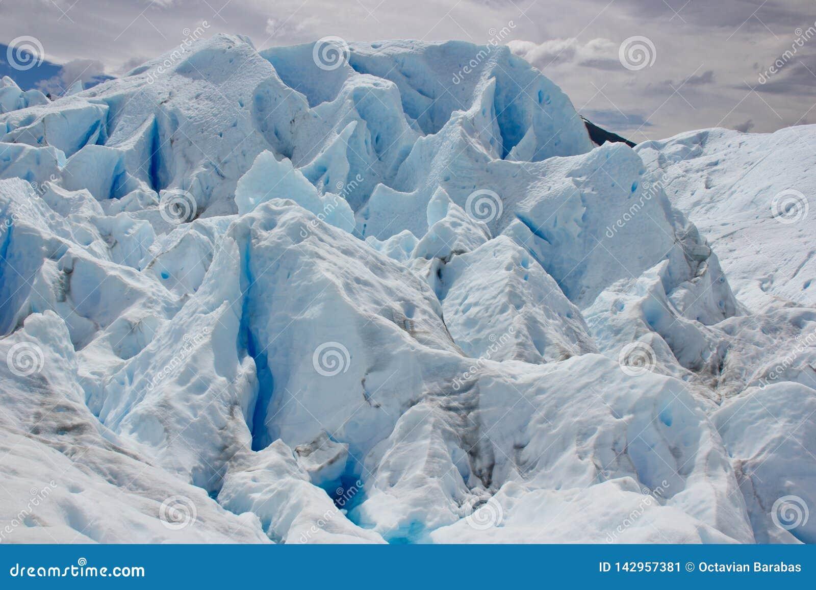 Structures on ice glacier in Perito Moreno