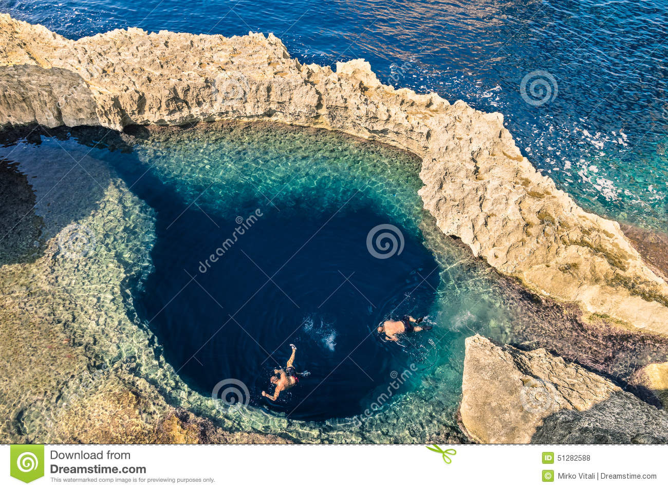 Deep blue hole at the world famous Azure Window in Gozo Malta
