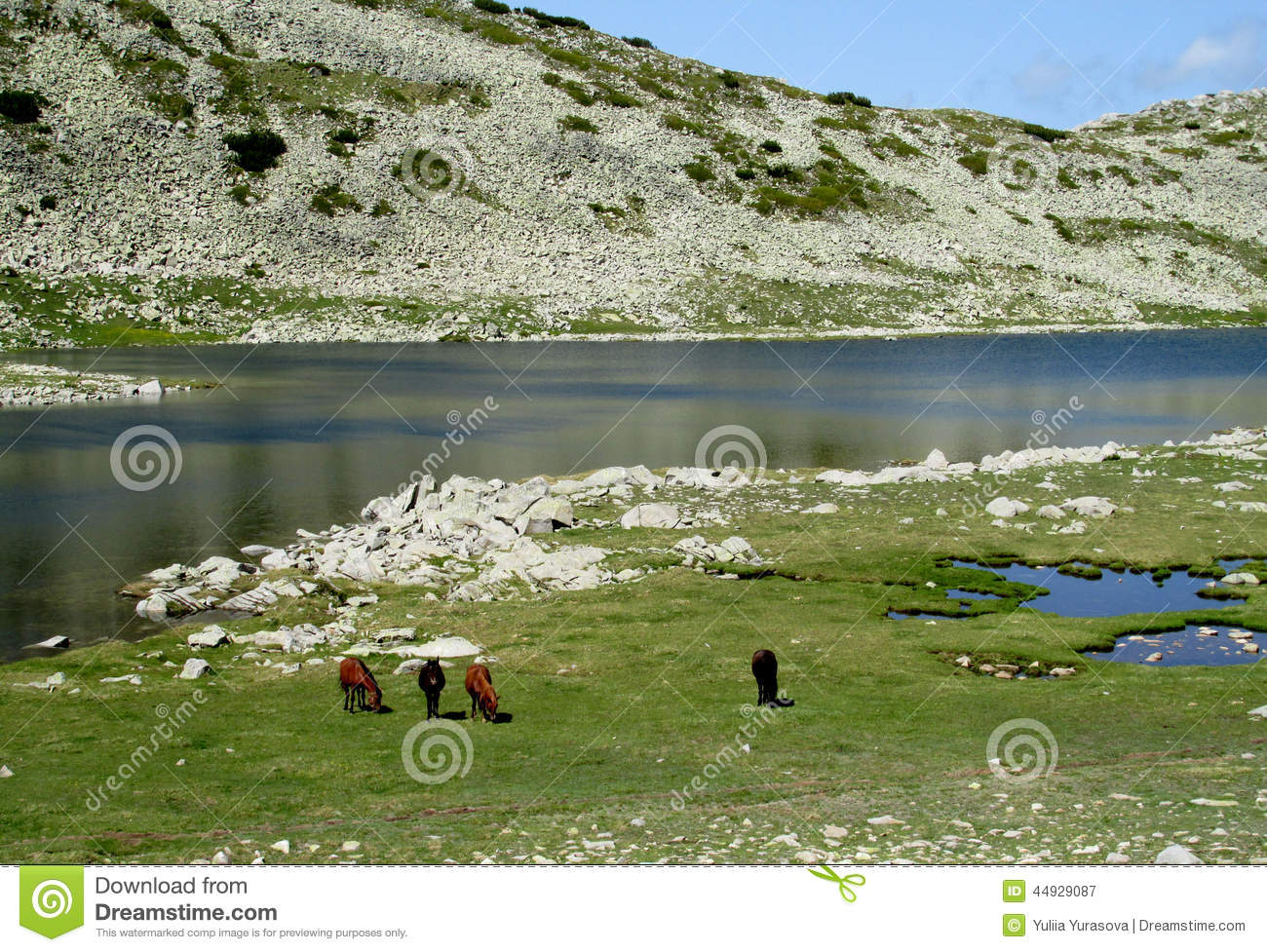 In bulgaria deep blue lakes and gray rock summit during the sunny day