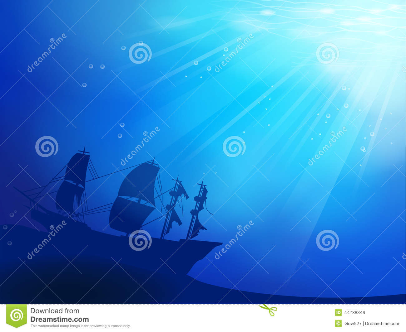 Deep Blue Ocean With Shipwreck As A Silhouette Bac Stock