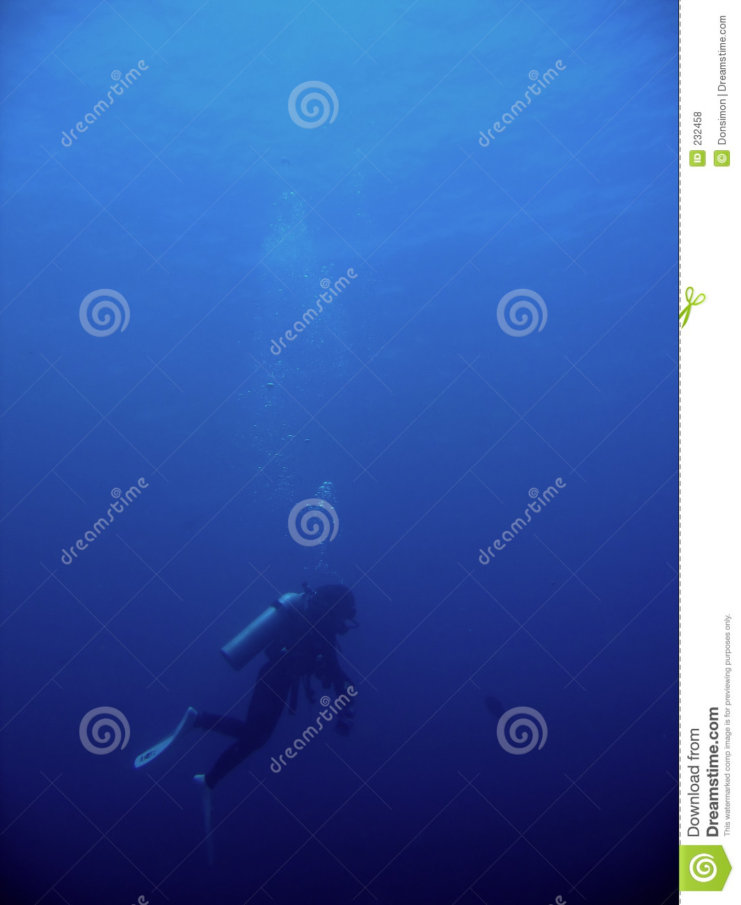 Scuba diver woman in blue water royalty free stock photo - Dive deep blue ...