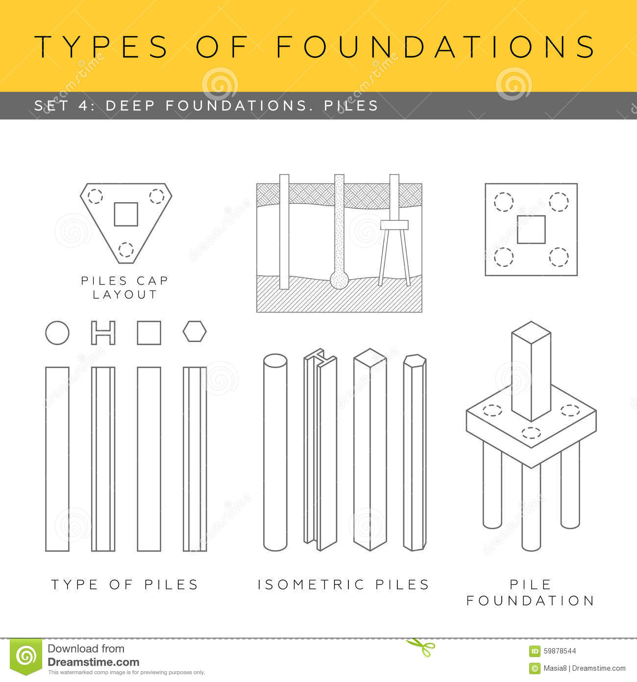 Deep footings stock illustration image 59878544 for What types of foundations are there