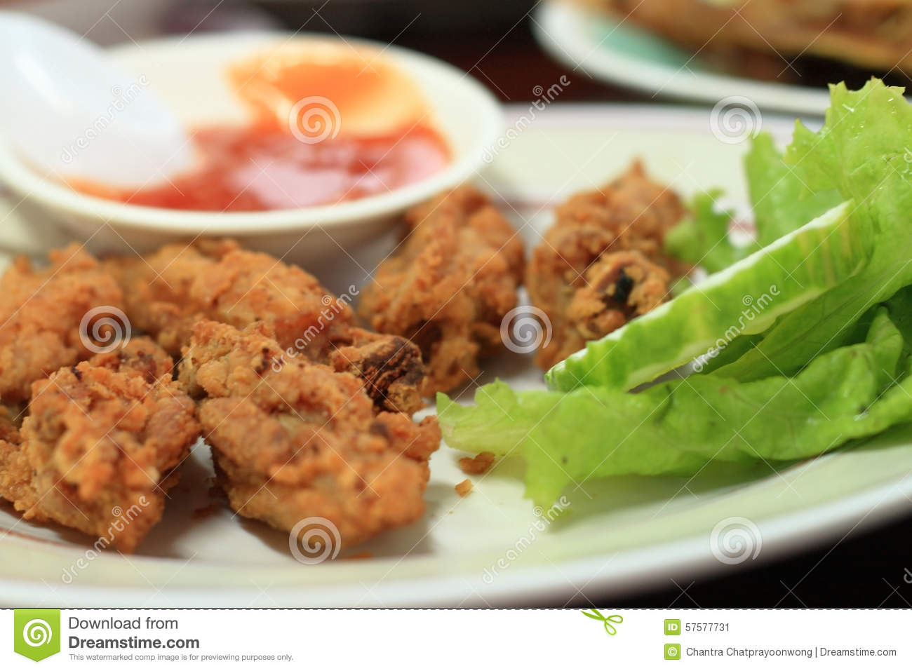 Deep fried chicken with salt, Thai Food.