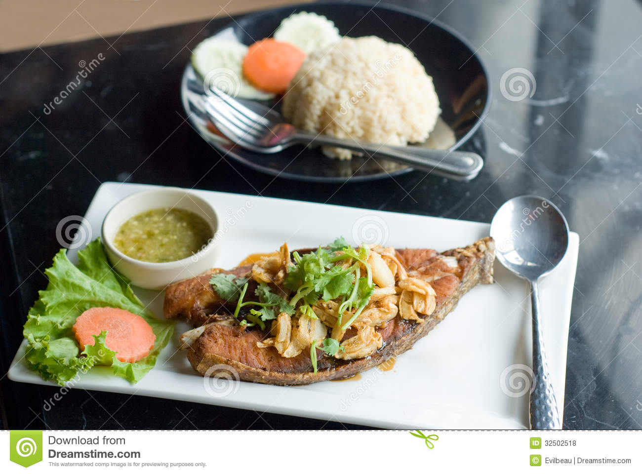 Deep fried fish and rice royalty free stock photos image for What to serve with fish