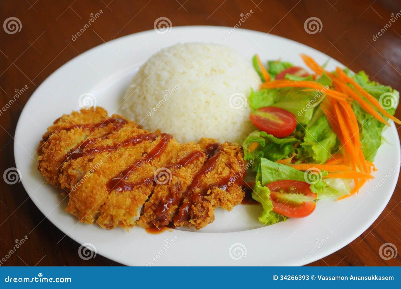 Deep Fried Pork With Rice And Salad
