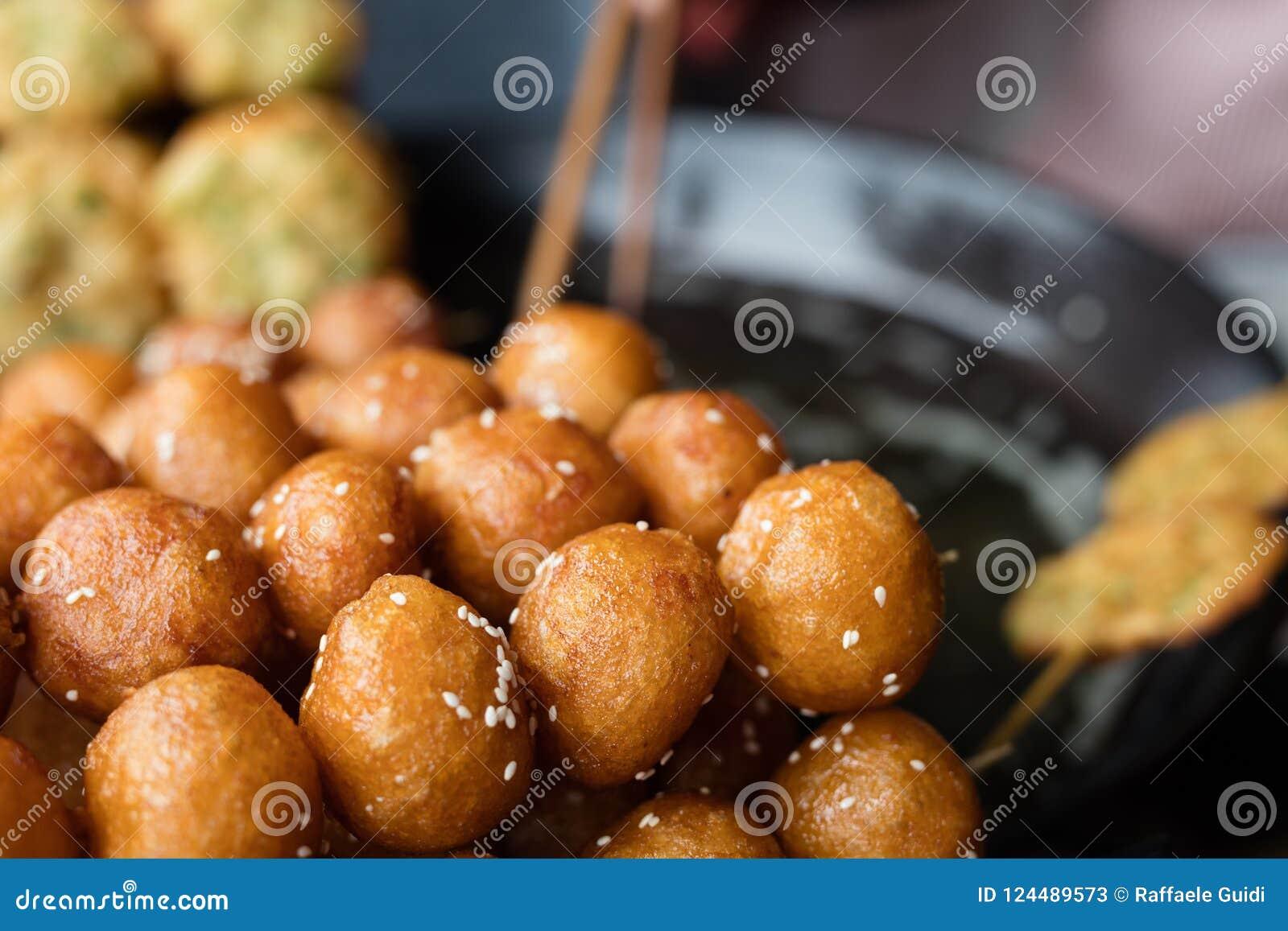Deep fried sesame balls stock image  Image of asia, oriental - 124489573