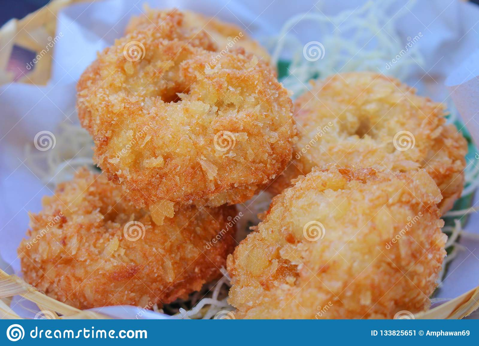 Deep Fried Shrimp Cakes Tod-Mun-Goong,Thai Food Stock Image