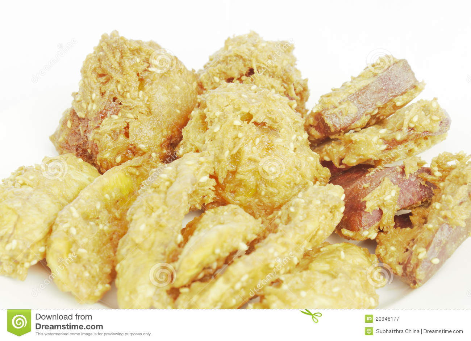 Deep fried sliced banana (in Thai call Kluay khek), fried sweet potato ...