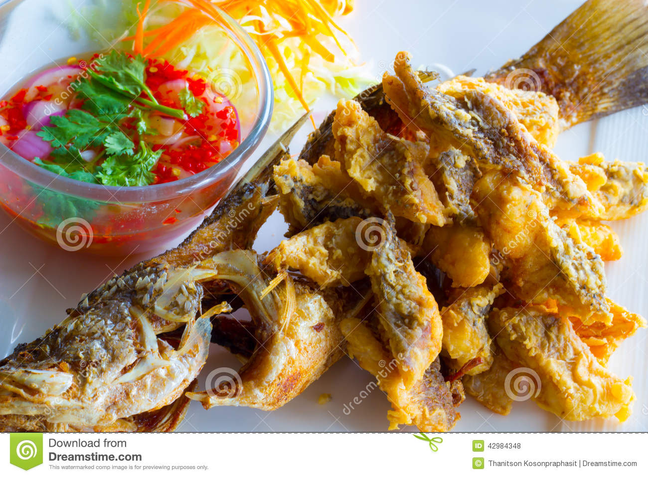 Deep fried whole sea perch with fish sauce for Deep fried whole fish