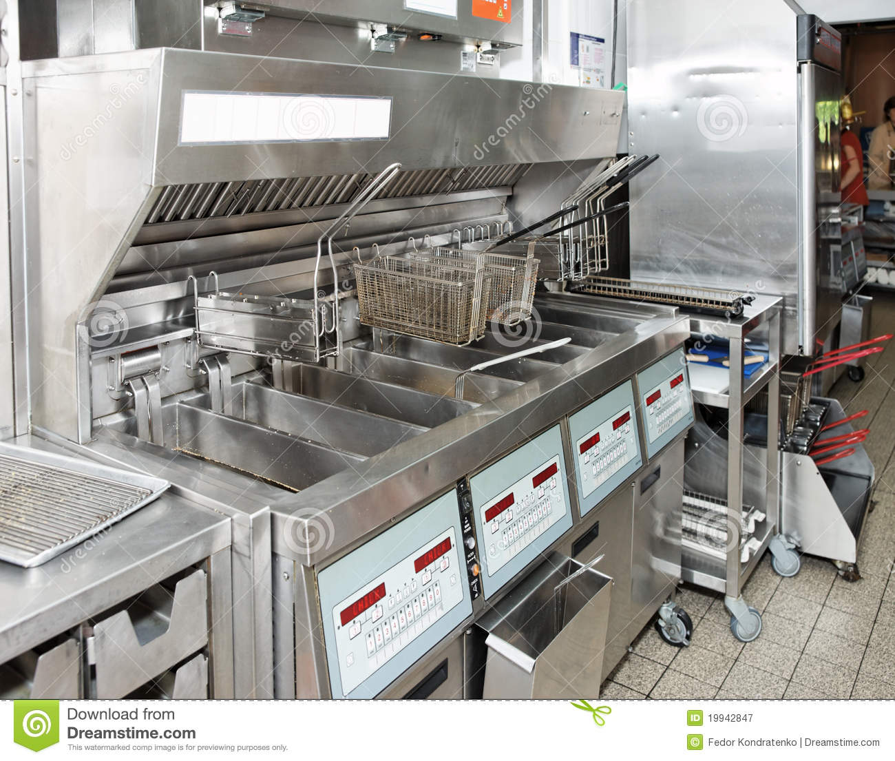 Deep Fryer With On Restaurant Kitchen Stock Image
