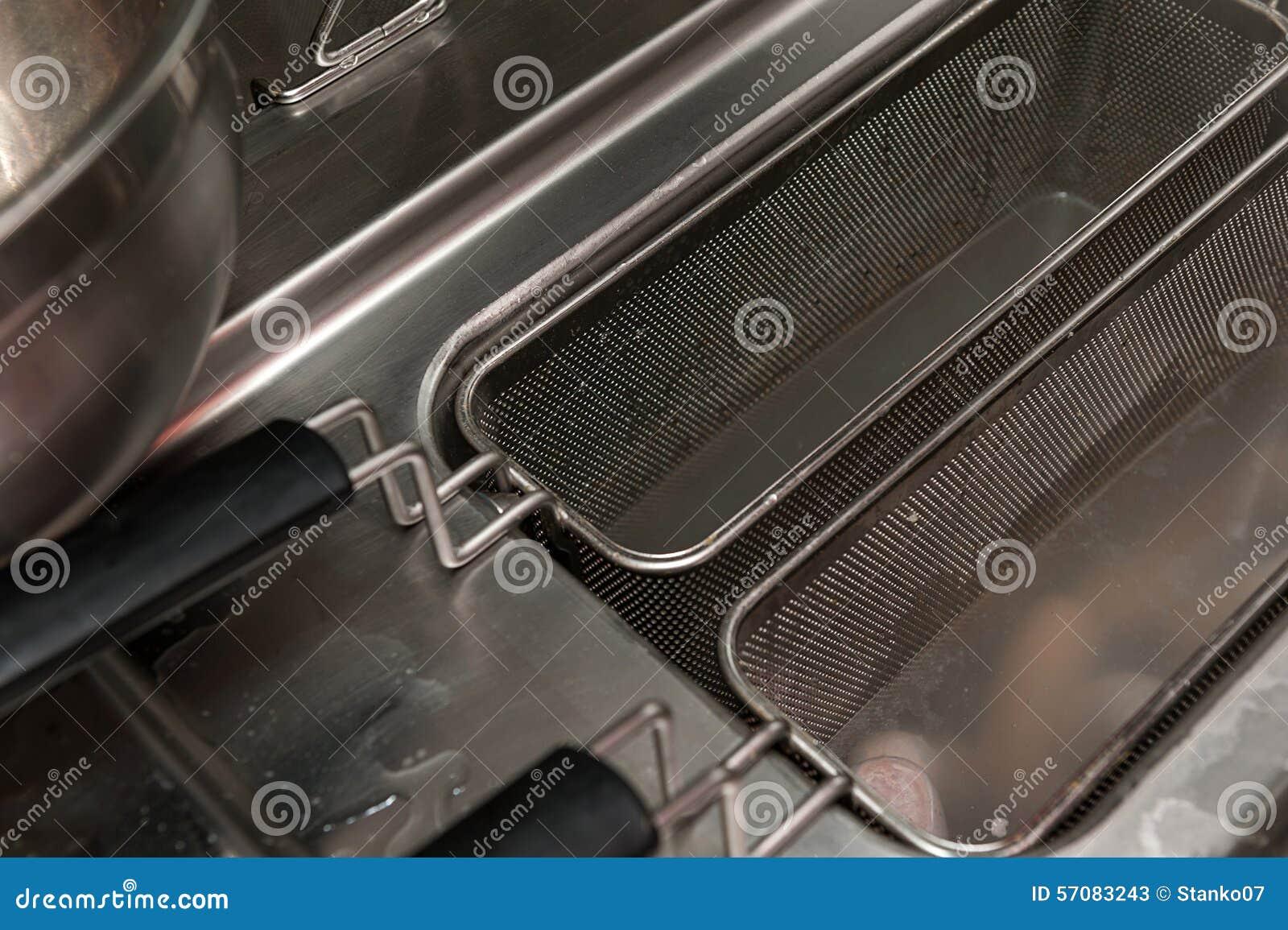 Deep fryer in restaurant kitchen