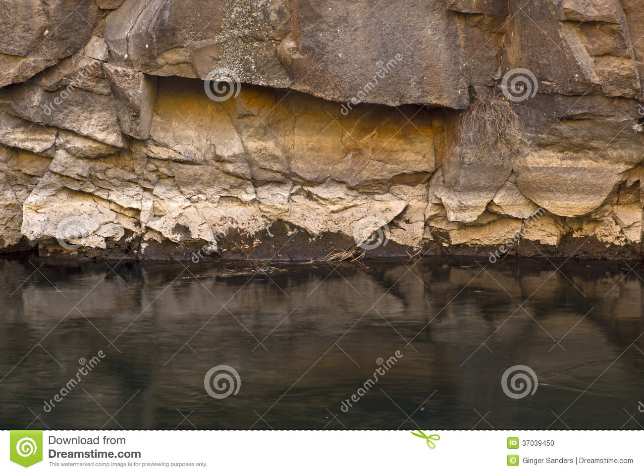 Deep Green River on Canyon Wall