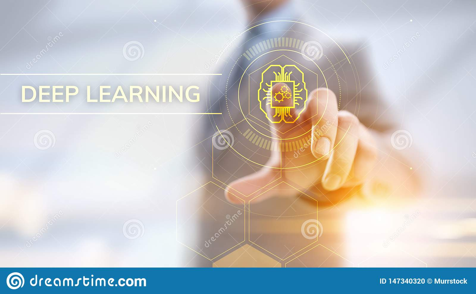 Deep Machine learning artificial intelligence technology concept. Businessman pointing on screen.