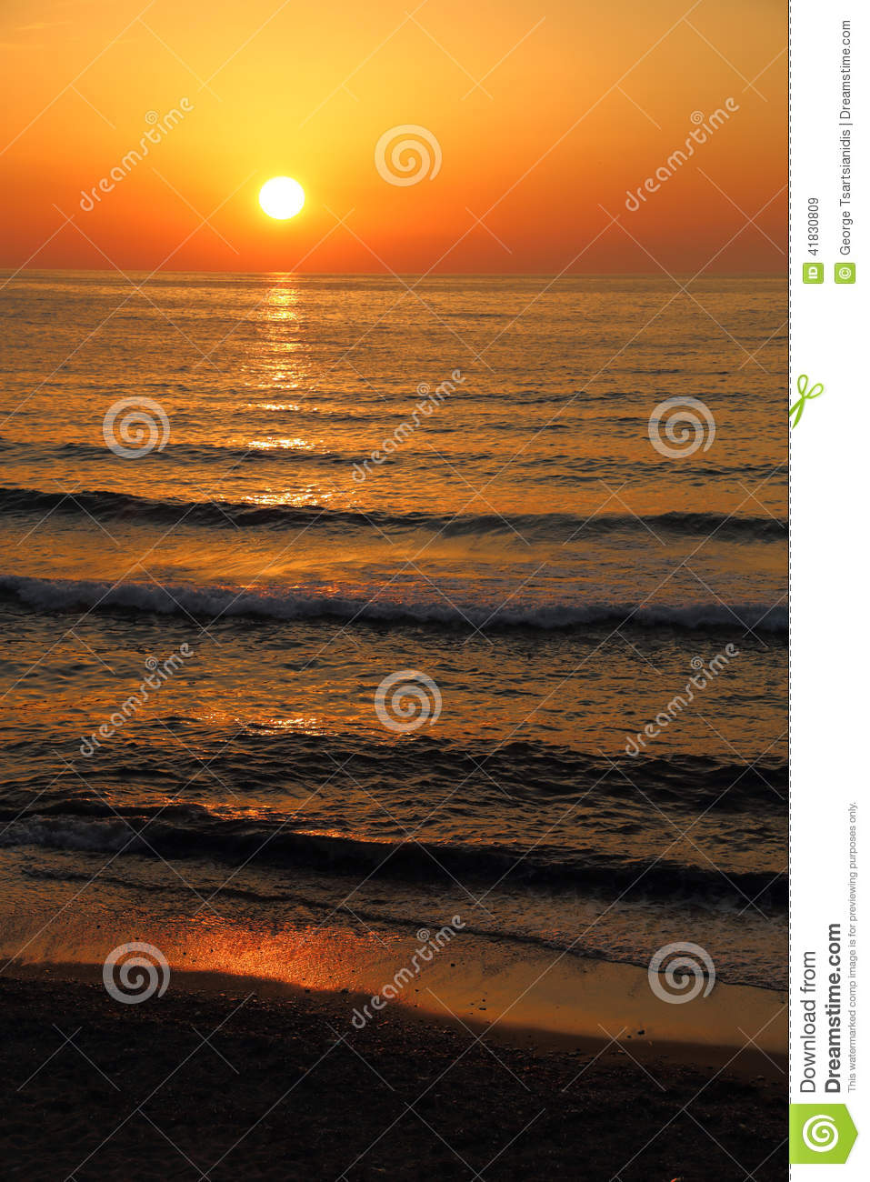 Deep Orange Color Sunset Stock Photo Image