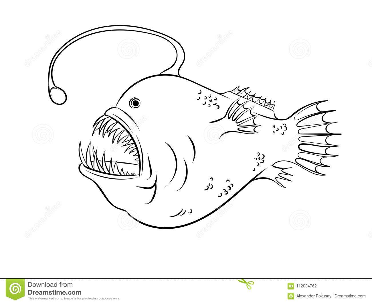 Deep Sea Fish With Light Coloring Vector Stock Vector Illustration