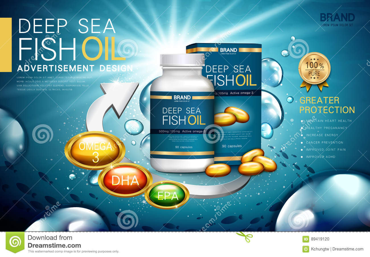 Deep sea fish oil cartoon vector 89419153 for Best time to take fish oil