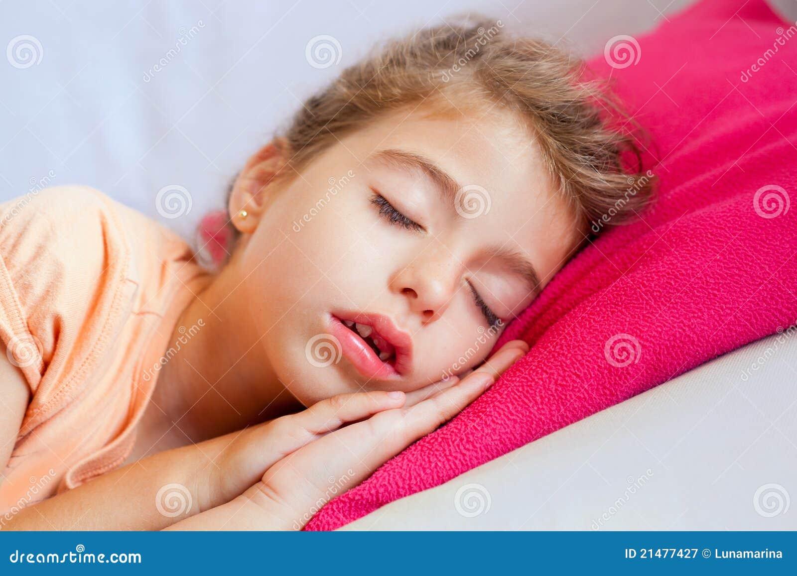 Deep Sleeping Children Girl Closeup Portrait Royalty Free
