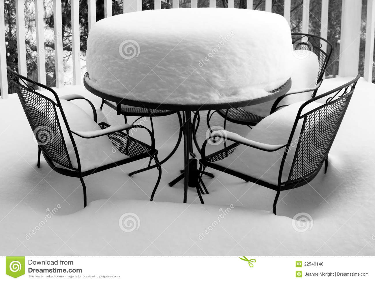 Deep Snow Covers Garden Table And Chairs Stock Photo