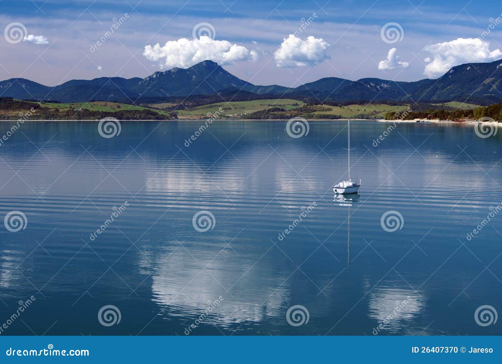 Deep waters of Liptovska Mara in summer