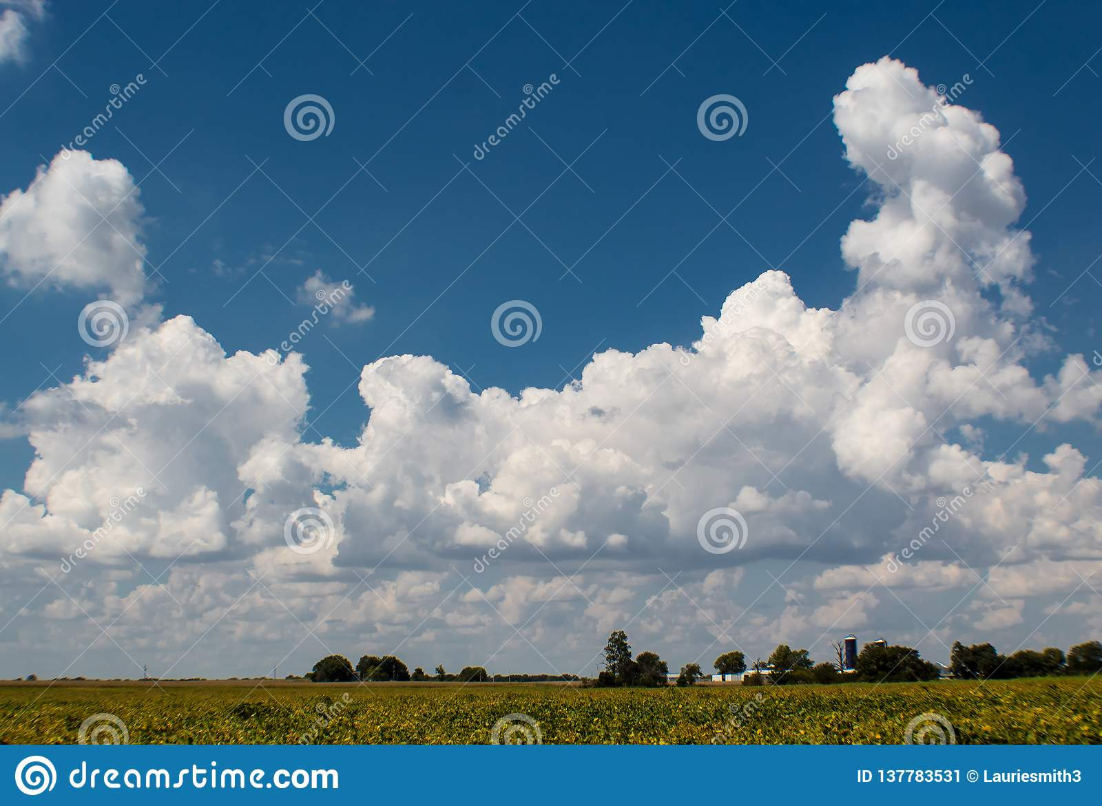 Deep blue summer sky with bright puffy clouds, Bond County, Illinois