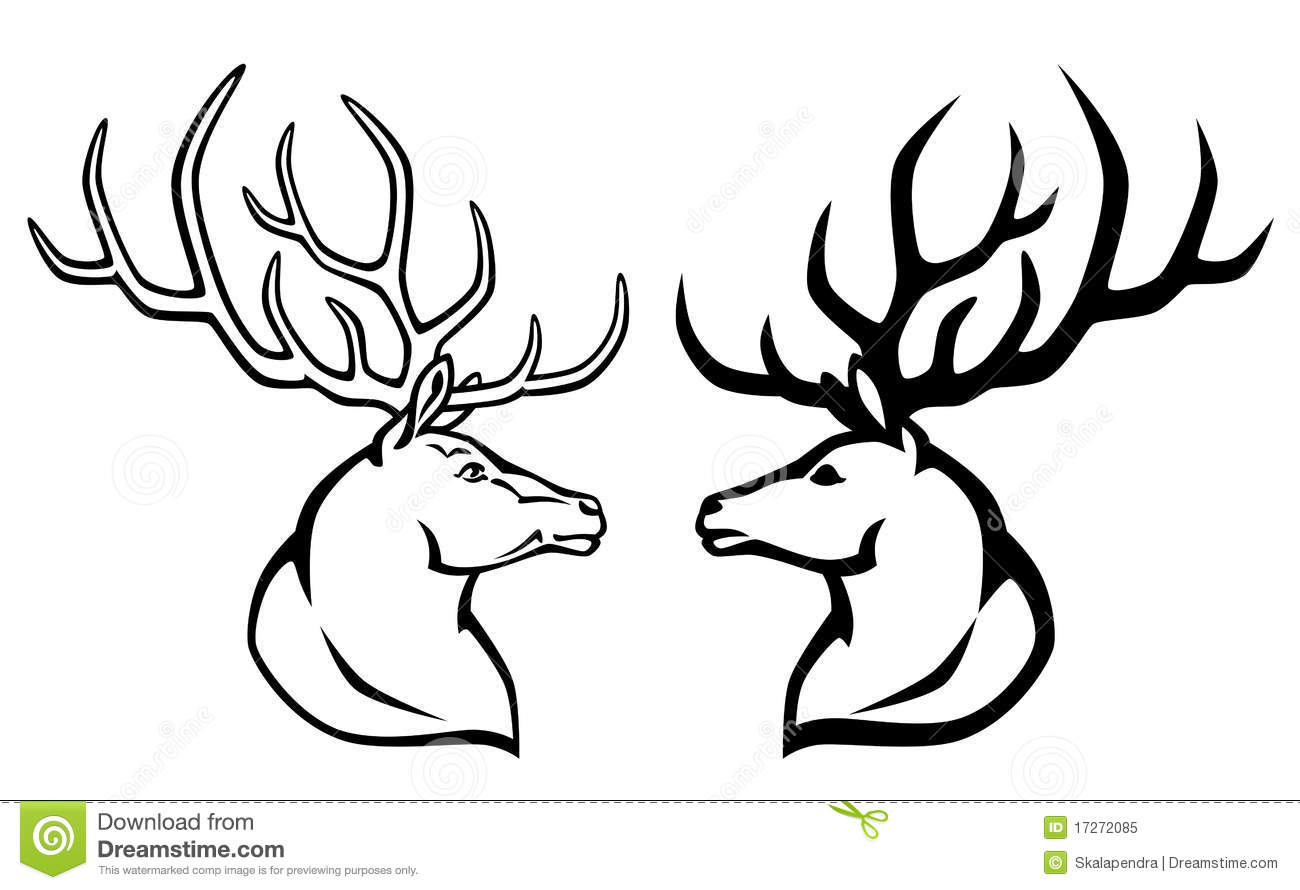 Deer Contour Line Drawing : Deer stock vector image of isolated line emblem