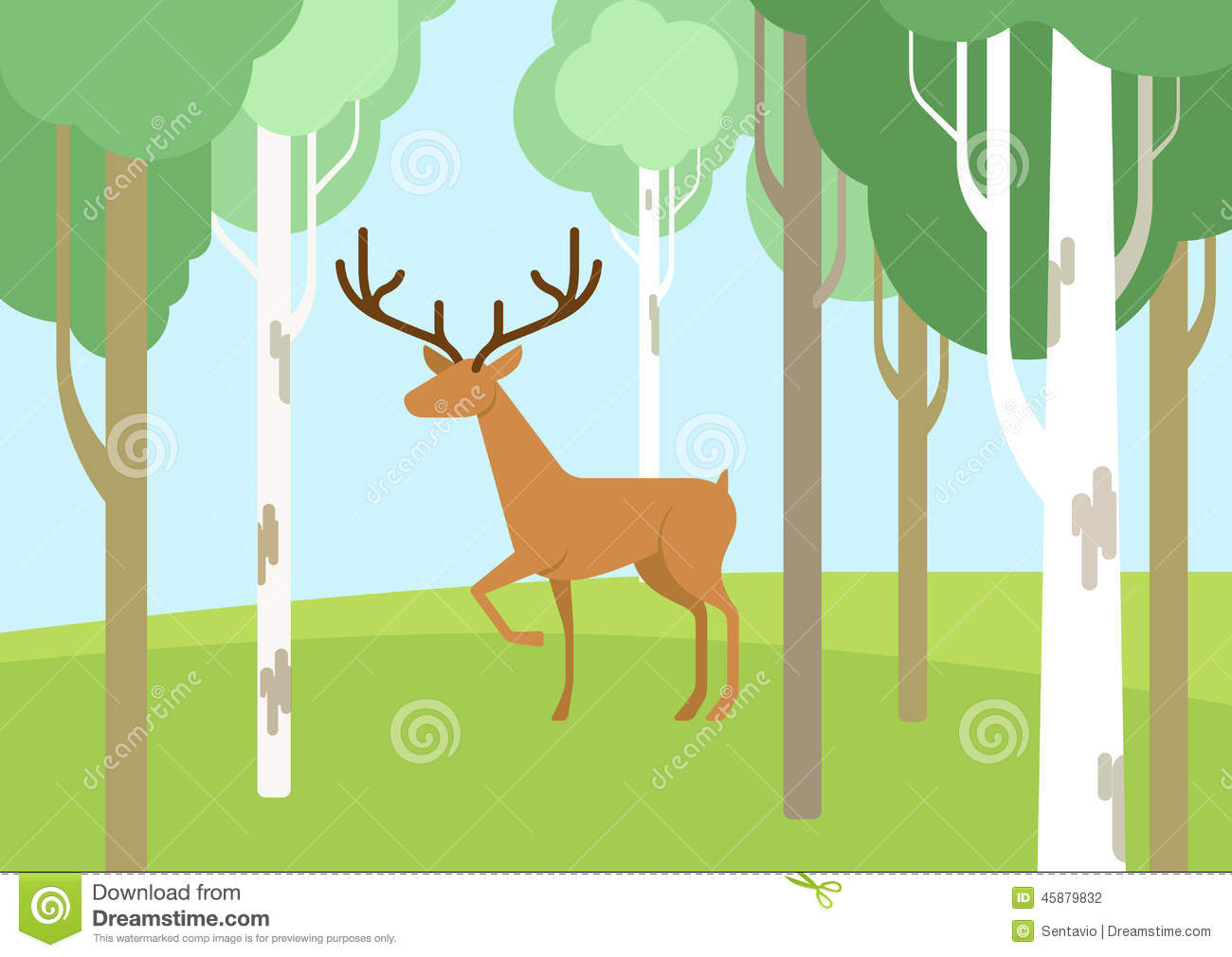 Deer In The Bichwood Forest Flat Cartoon Vector Wild Animal Stock ...