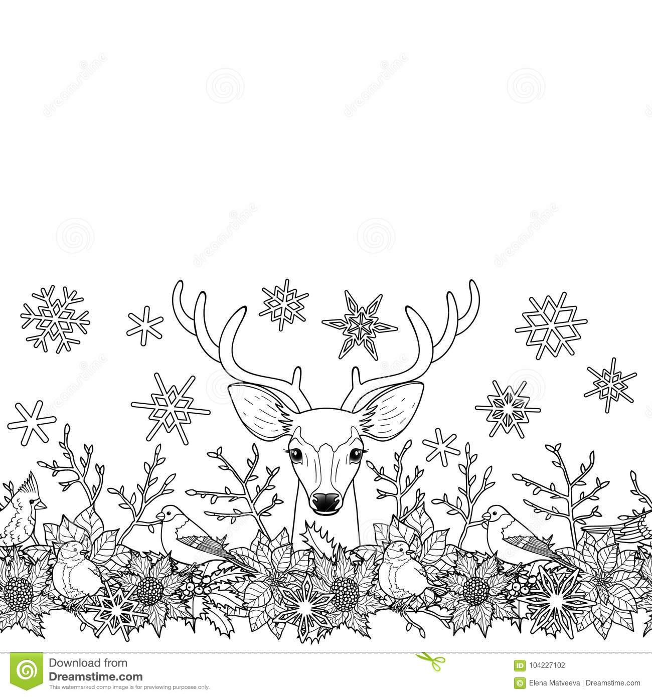 deer and birds seamless horizon border winter square new year black and white wallpaper for greeting cards mock ups coloring page and textile prints with