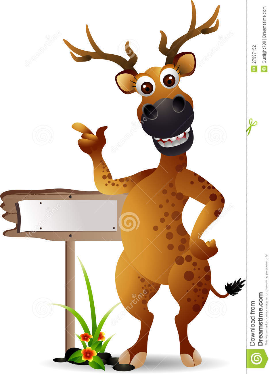 Deer Cartoon With Blank Board Stock Photography - Image: 27397152